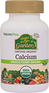 NaturesPlus Source of Life Garden Certified Organic Calcium with AlgaeCal - 1000 mg, 120 Vegan Capsules - Plant-Based Bone Health Support Supplement - Vegetarian, Gluten-Free - 30 Servings