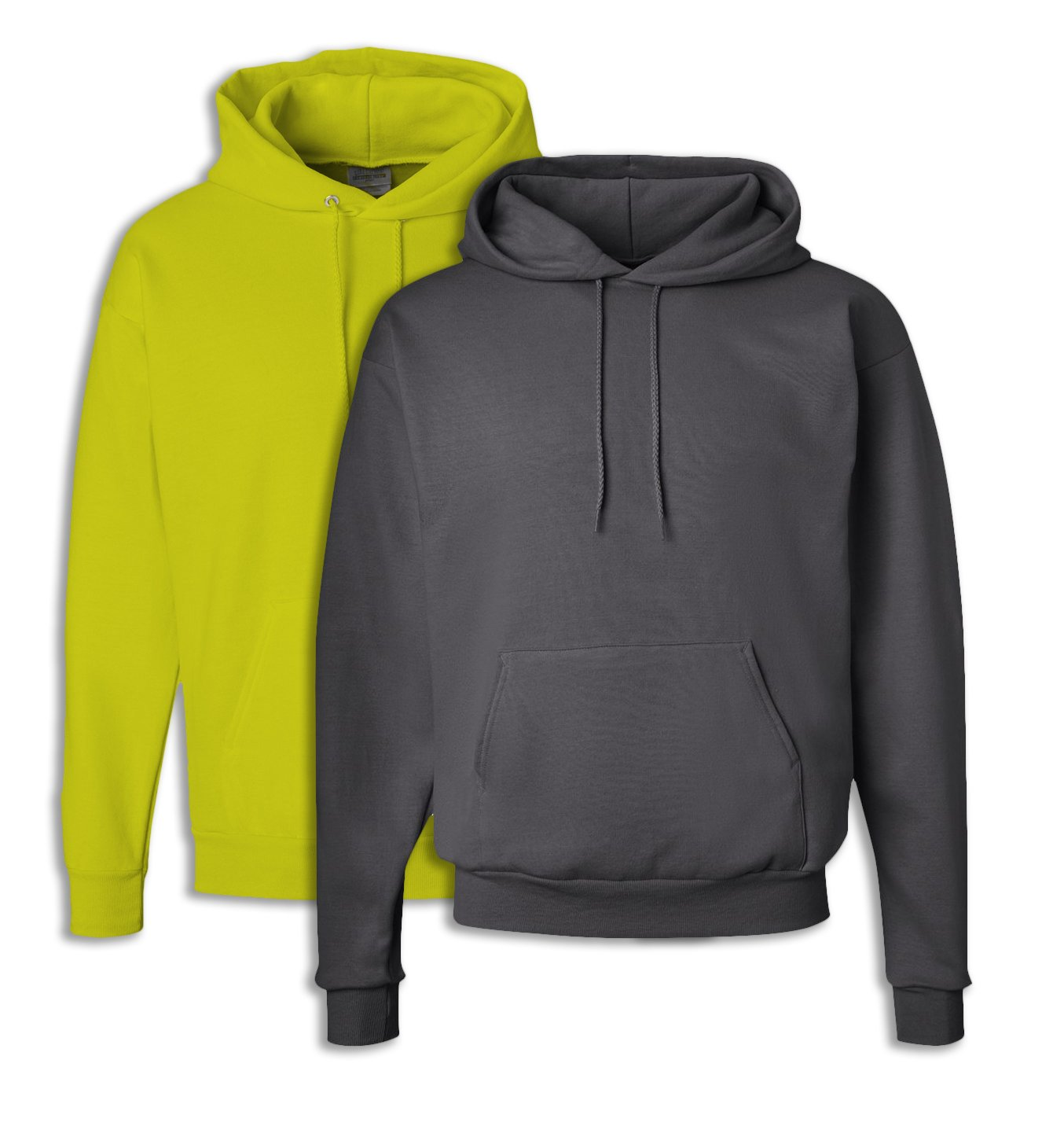 Hanes P170 Mens EcoSmart Hooded Sweatshirt Small 1 Safety Green + 1 Smoke Grey