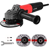 MANUSAGE 7-Amp Angle Grinder,5 inch Power Grinder with 125mm Grinding Abrasive Wheels,Cutting Abrasive Wheels and 3-Position