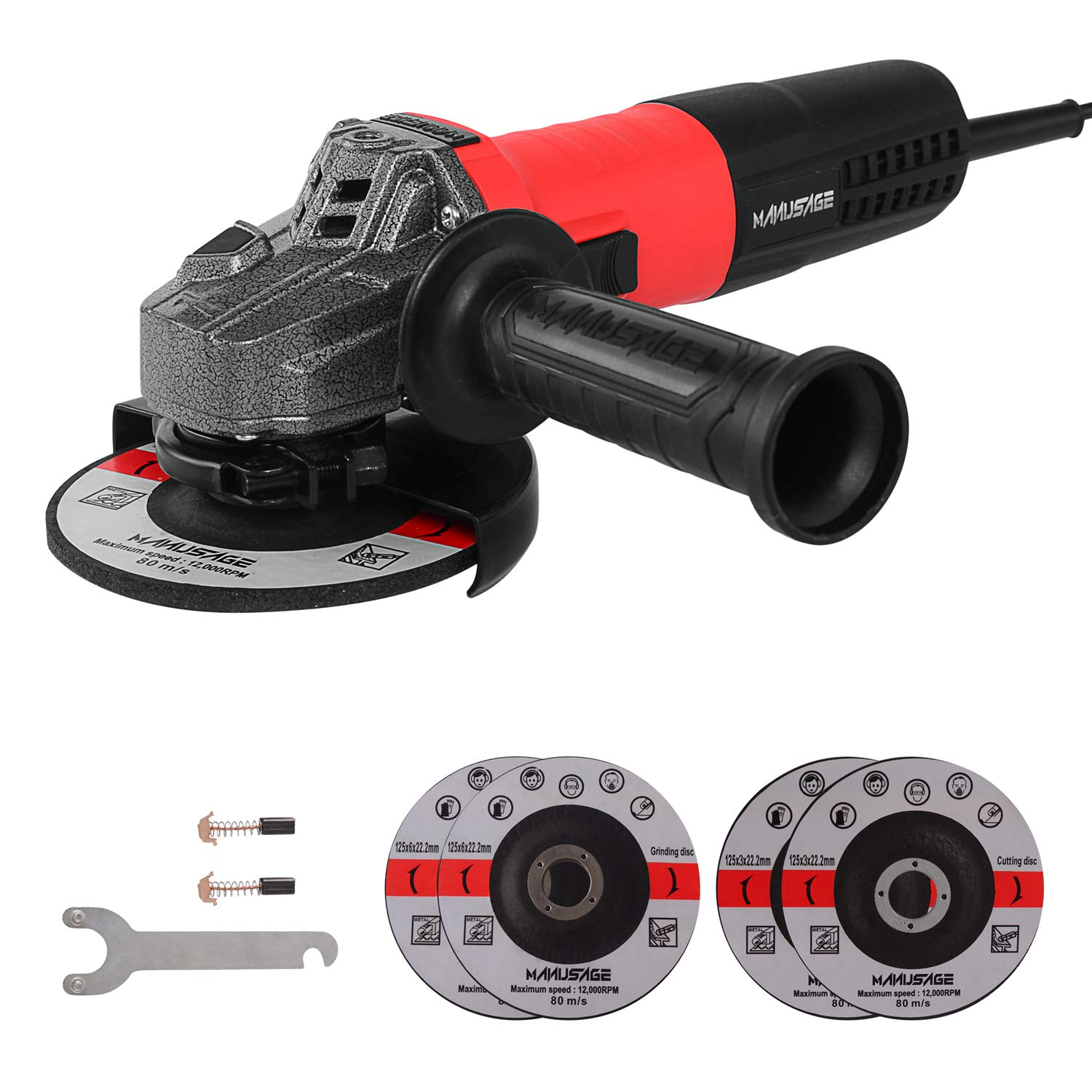 MANUSAGE 7-Amp Angle Grinder,5 inch Power Grinder with 125mm Grinding Abrasive Wheels,Cutting Abrasive Wheels and 3-Position Anti-Vibration Handle