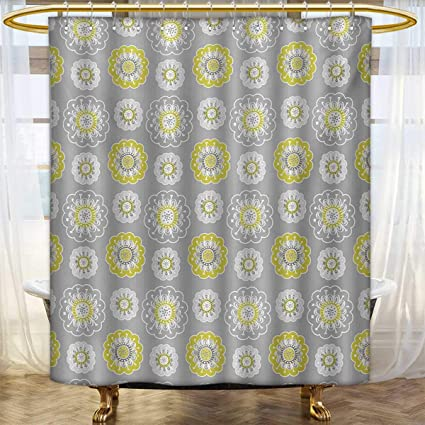 Lacencn Grey And YellowShower Curtains Mildew ResistantPale Backdrop With Ethnic Inspired