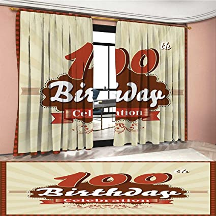 Amazon 100th Birthday Blackout Window Curtain Chocolate Wrap Like Brown Party Invitation Hundred Years Celebration Customized Curtains Cinnamon And