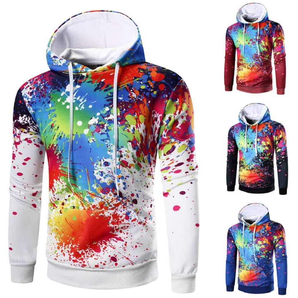 Long Sleeve White Hoodies Multicolor Sweatshirt Activewear Hooded Sport Outwear Mens Tops MISYAA Hoodies for Men