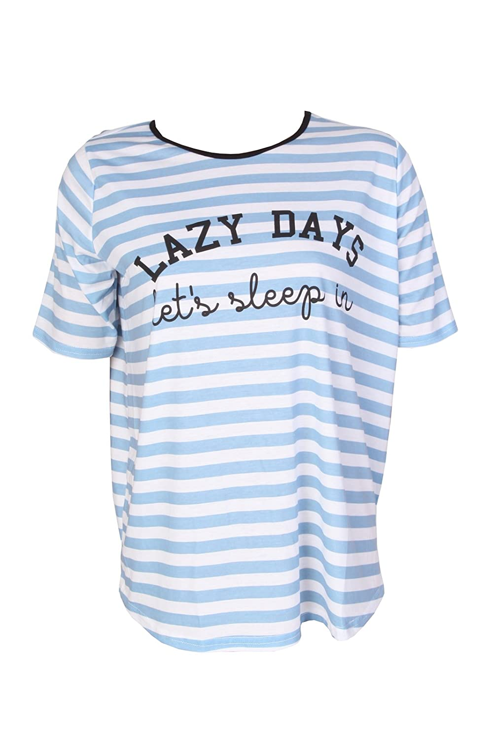 leggingonline T3 Ladies Blue Shortsleeves Comfortable Essential Maternity 'Lazy Days Let's Sleep' Slogan Top