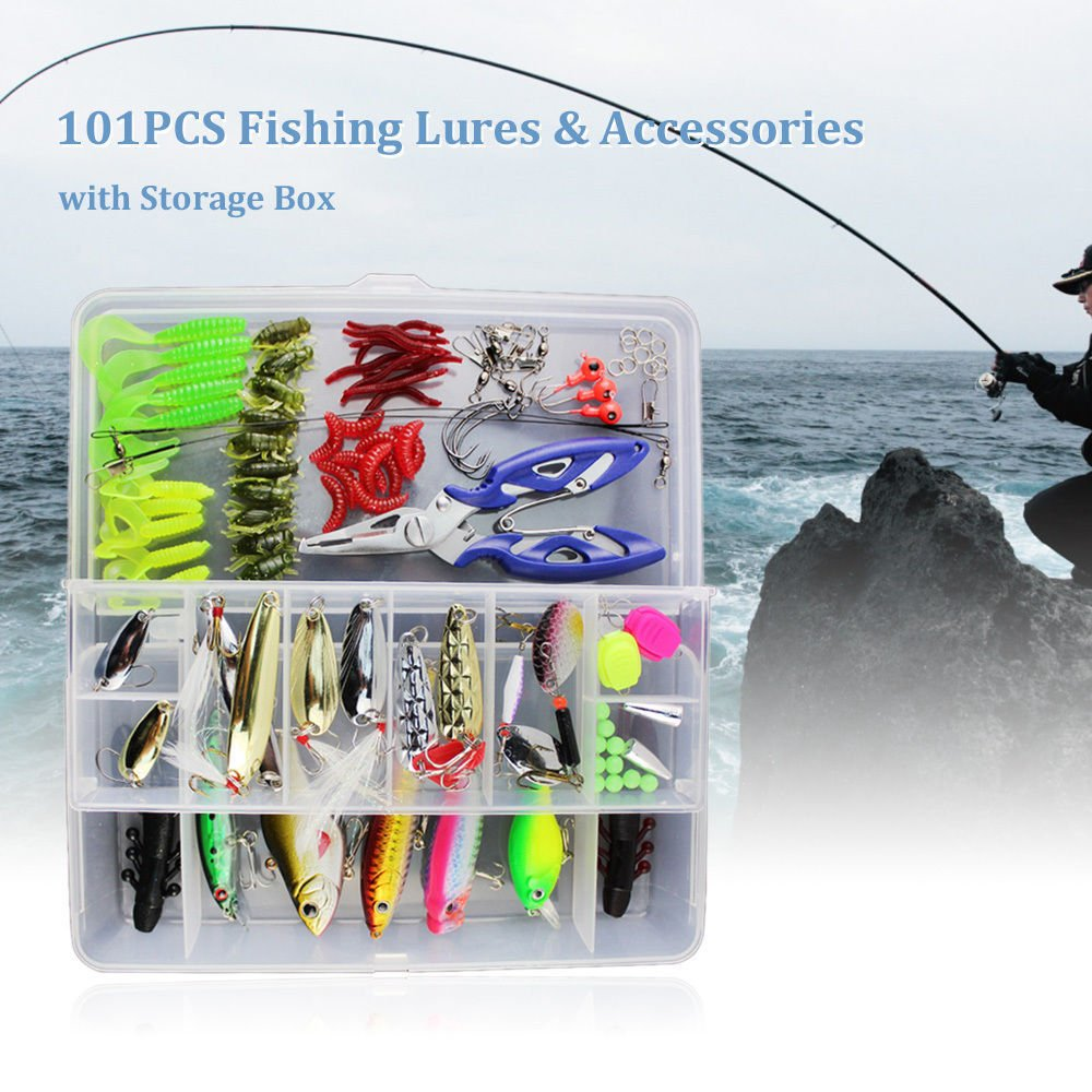 Fishing Lures Fishing Tackle Lots,Portable Fun Fishing Baits Kit Set With Free Tackle Box,For Freshwater Trout Bass Salmon