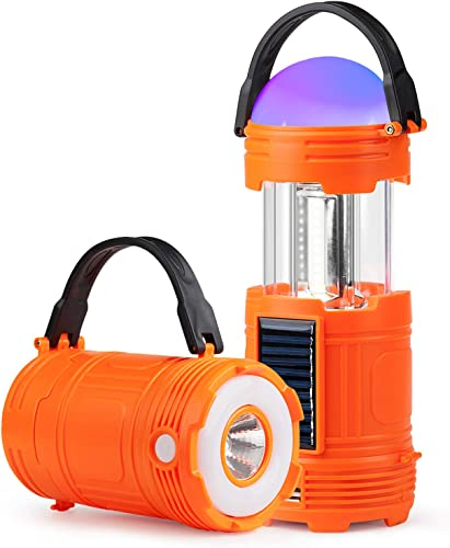 JEFAL 6 Pack Portable Mini Camping Lantern with LED Flashlights 2 in 1, 3-Lighting-Modes Survival Tool for Hiking, Camping, Emergency, Hurricane, Power Outage – Collapsible Mini Size – Battery Powered