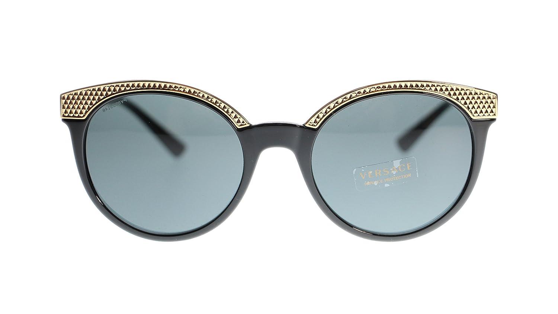 73f70362b62bf Versace Women Round Sunglasses VE4330 GB1 87 Black Grey Lens 53mm Authentic   Amazon.co.uk  Clothing