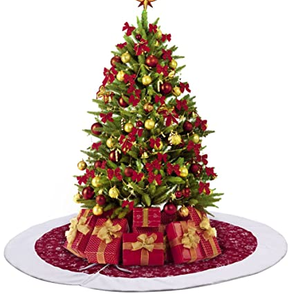 partytalk velvet christmas tree skirt 48 inch snowflake tree skirt for christmas decorations traditional