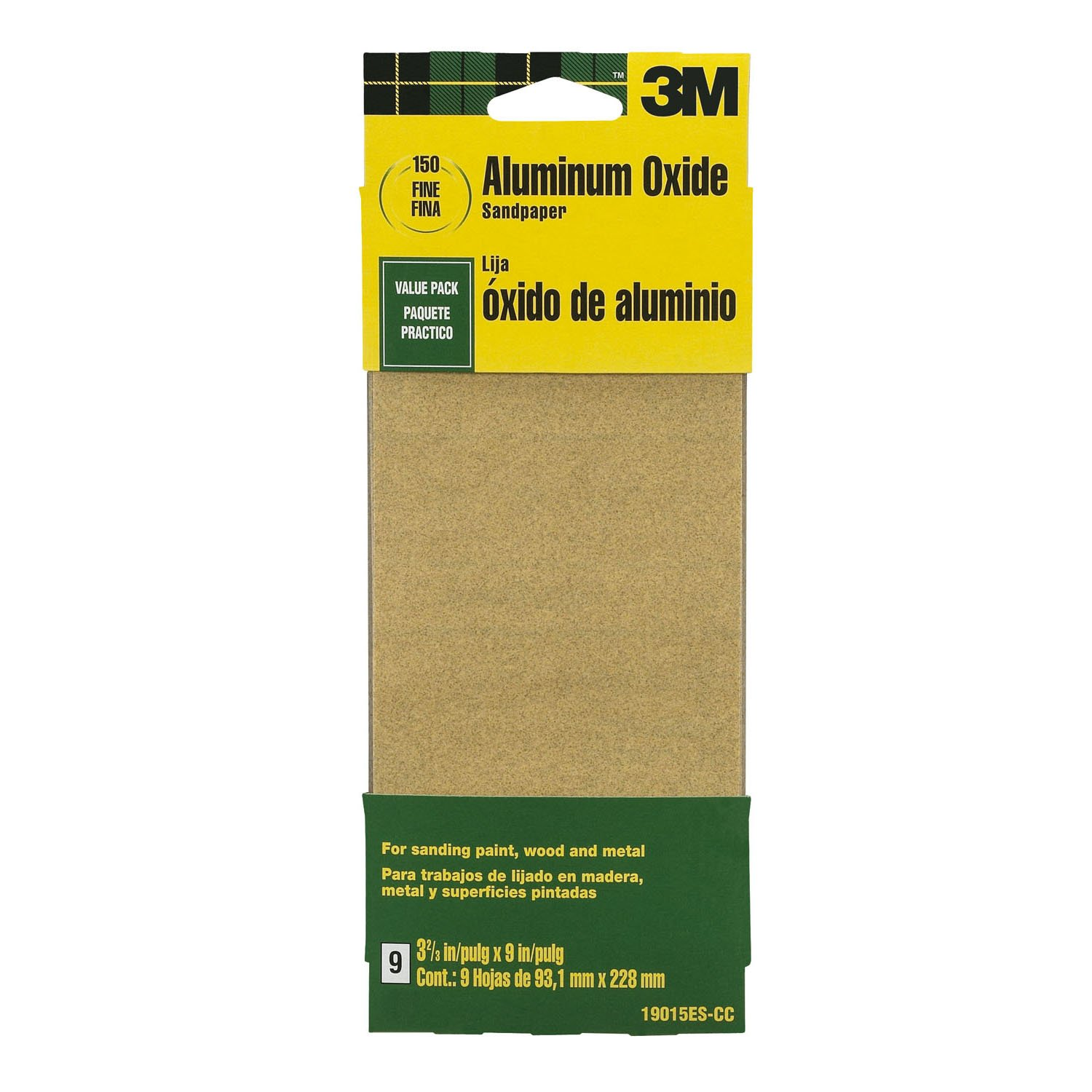 3M 19015ES-CC 3-2/3 by 9-Inch Fine Grit Aluminum Oxide Paint, Wood, Metal Sandpaper, 9-Pack