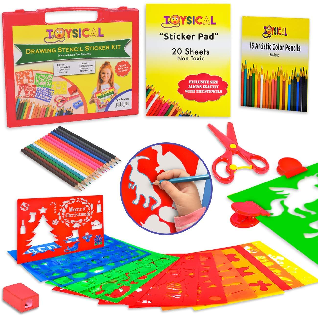 Amazon Com Toysical Kids Stencils Sticker Set For Girls Boys 52