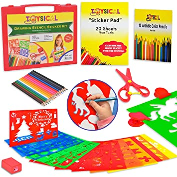 Toysical Kids Stencils Sticker Set For Girls Boys 52 Pc Drawing Art N Crafts Set With Non Slip Clips In Travel Case Best Birthday Christmas