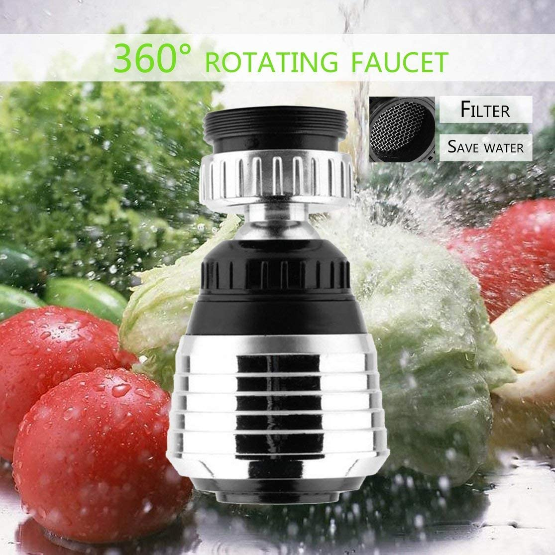 Licini 360/°Rotatable Faucet Swivel End Diffuser Water Saving Adapter Device Anti-Splash Shower Bath Valve Filter for Home Use