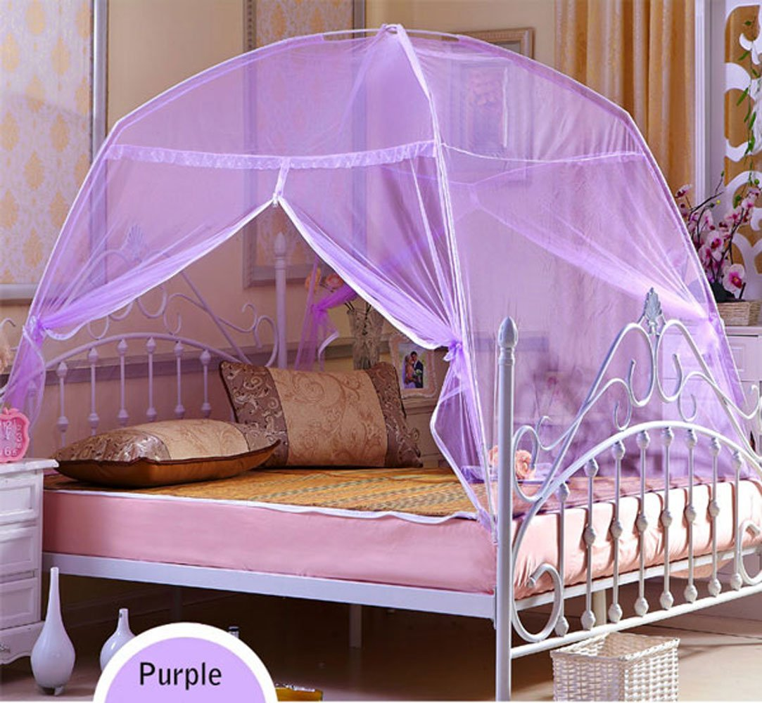 CdyBox Foldable Baby Adult Double Zipper Door Sleeping Yurt Mosquito Net Bed Canopy with Stand (M, Purple)