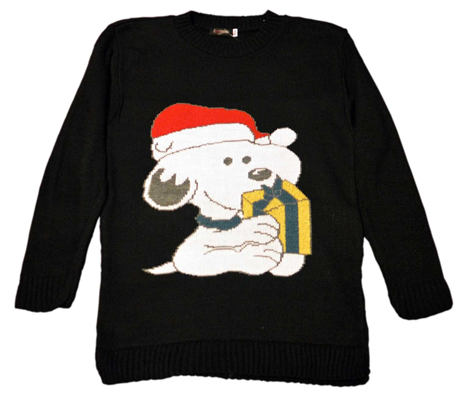 WOMENS LADIES UNISEX NOVELTY SNOOPY CHRISTMAS JUMPER SWEATER TOP ...