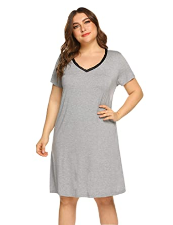 36ff2653da19a IN VOLAND Plus Size Nightgowns Women V Neck Sleep Shirt Short Sleeve  Nightdress Pajama Sleepwear
