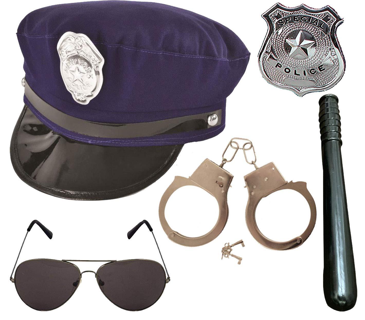 Labreeze NYPD US Police Hat Menottes Badge Lunettes Truncheon 5 pi/èces Coop D/éguisement