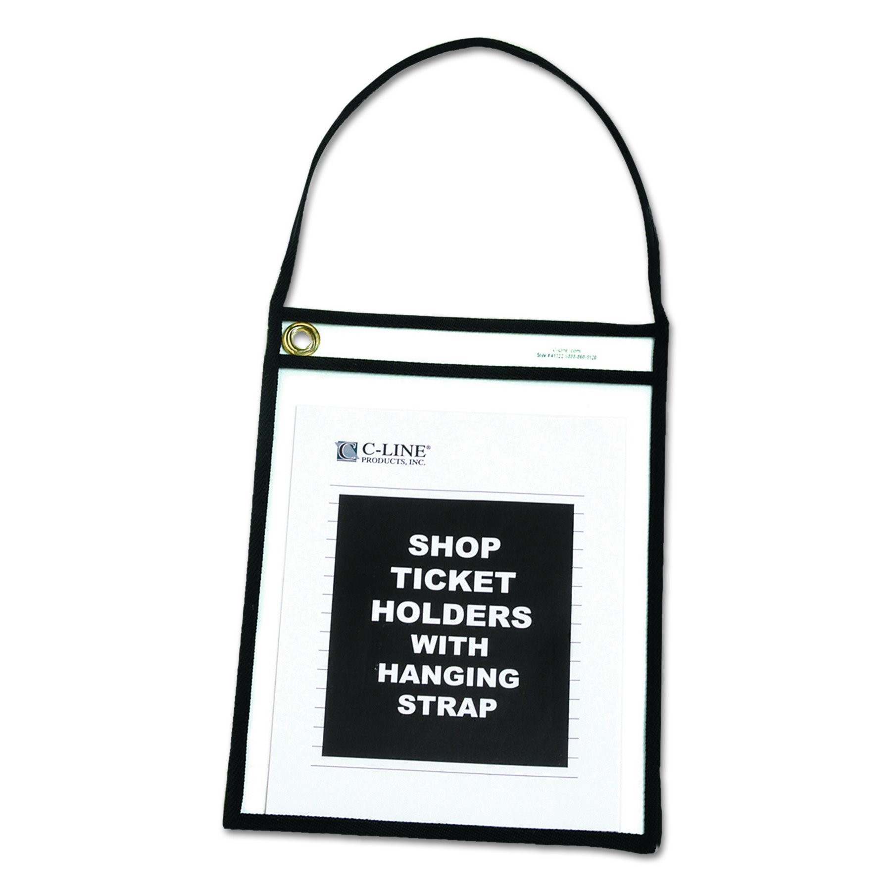 C-Line Shop Ticket Holders with Straps, Stitched, Black, Both Sides Clear, 9'' x 12'', Box of 15 (41922) by C-Line