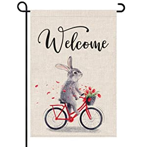 PARTY BUZZ Bunny on Bicycle Garden Flag, Cute Spring Summer or Easter Decorative Flag for Garden Yard Patio Lawn (12 x 18, Double Sided)