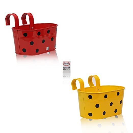 Pepper Agro Gardening Railing Balcony Planter Decorative Polka Dotted Hanging pots Metal Plant Container Assorted Colours Set of 2