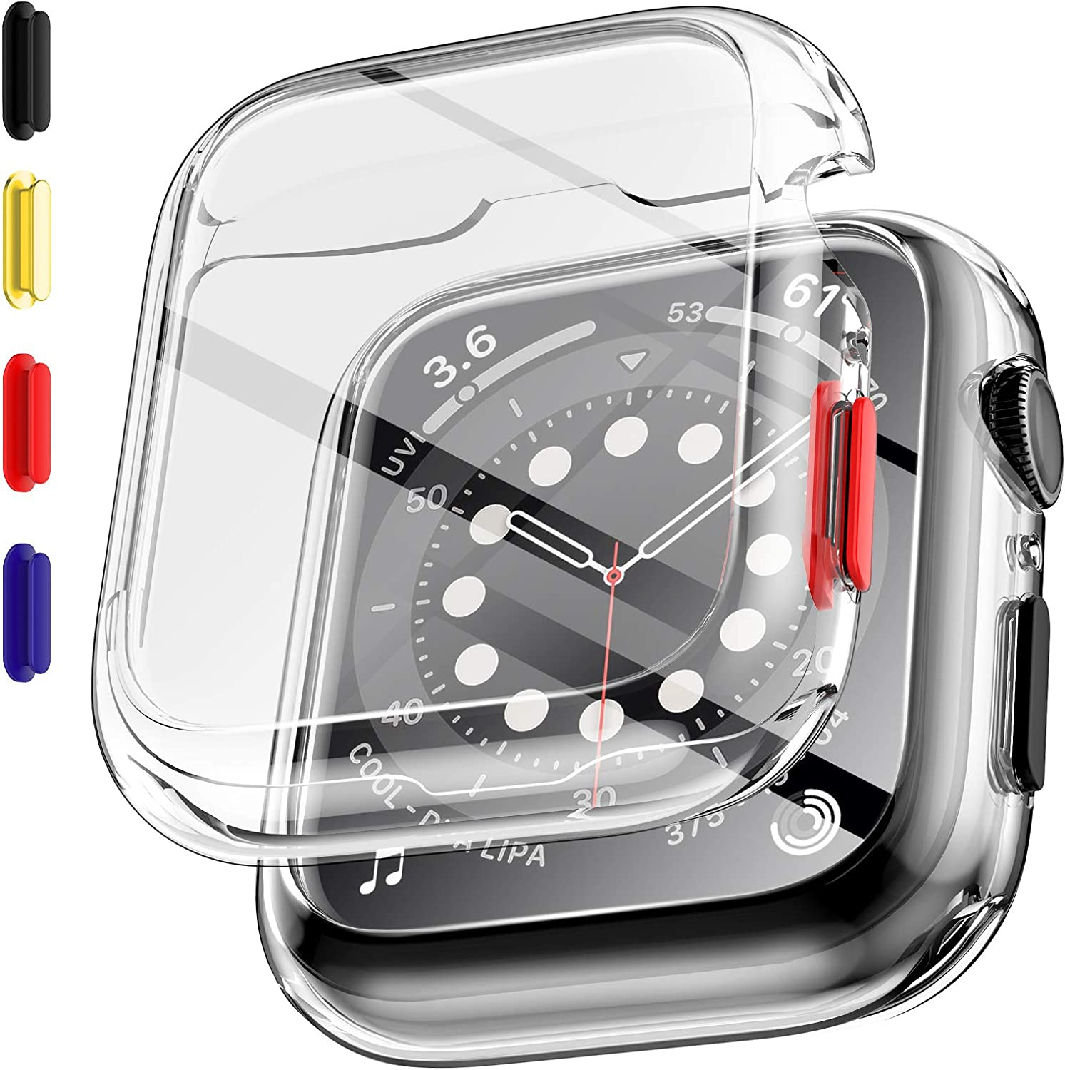 EGV 2 Pack Tempered Glass Case Compatible with Apple Watch Series 6 / SE/Series 5 / Series 4 40mm Screen Protector, Replaceable Buttons, All-Around Bumper Protective, Silicone Protector Cover-Clear