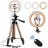 """10"""" Selfie Ring Light with 50"""" Extendable Tripod Stand & Flexible Phone Holder for Live Stream/Makeup,Mini Desktop Led Camera Ringlight for YouTube Video, Compatible with iPhone/Android (Black)"""