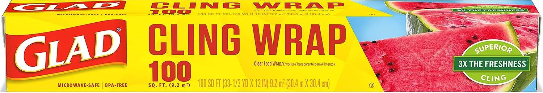 Glad ClingWrap Plastic Food Wrap - 100 Square Foot Roll