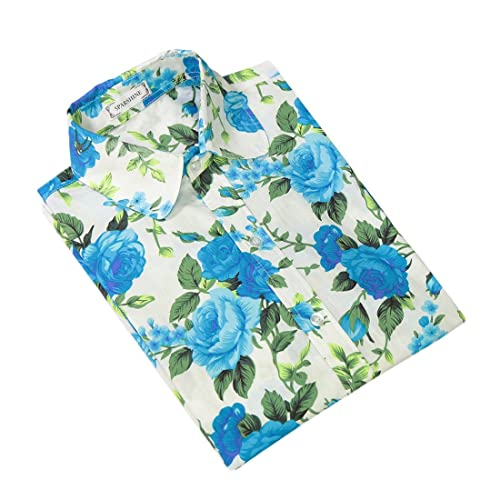 XueXian(TM) Mujer de Camisa Casual de Moda Refrescante Patrón de Flor Azul
