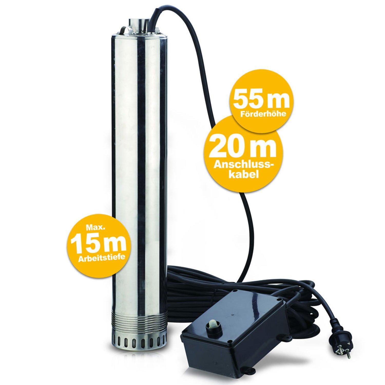 Hecht 3520 Pompe de puits immerg/é profond profondeur 55m 1000W 5200L//h c/âble 20m 12kg