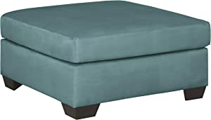Signature Design by Ashley - Darcy Contemporary Oversized Accent Ottoman, Sky Blue