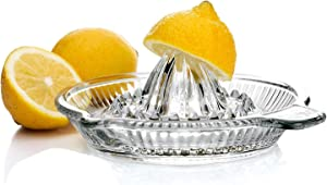 CHENMAO Lemon Squeezer Citrus Juicer, Extractor Manual Hand with Handle and Pour Spout, BPA Free and Lead Free Heavyweight Crystal Glass