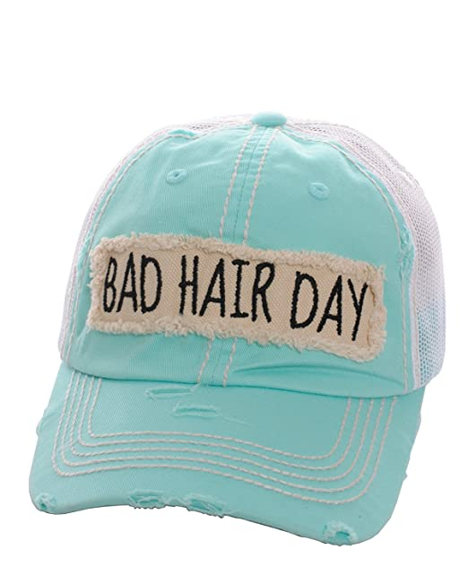 Amazon.com  K B Bad Hair Day Vented Mesh Baseball Cap Hat (Mint Blue ... 9511b4a10aa