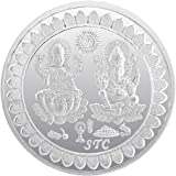 925 Silver Sterling-Silver 99.5 Silver Purity 20 Gram Laxmi Ganesh Silver Coin (White)