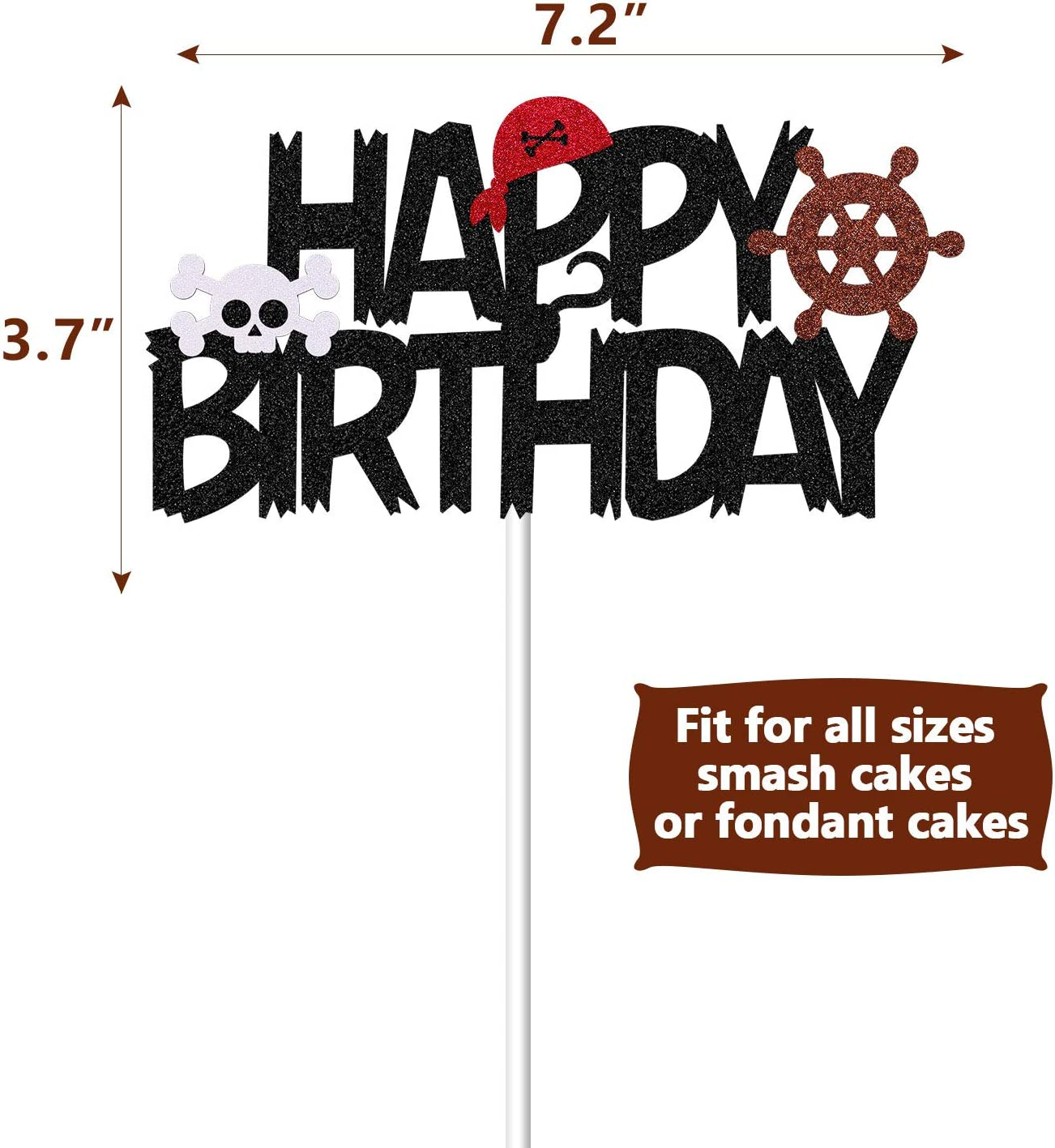Colorful Nautical Happy Birthday Party Sign,Birthday Banner Photo Props KakaSwa Pirate Happy Birthday Banner