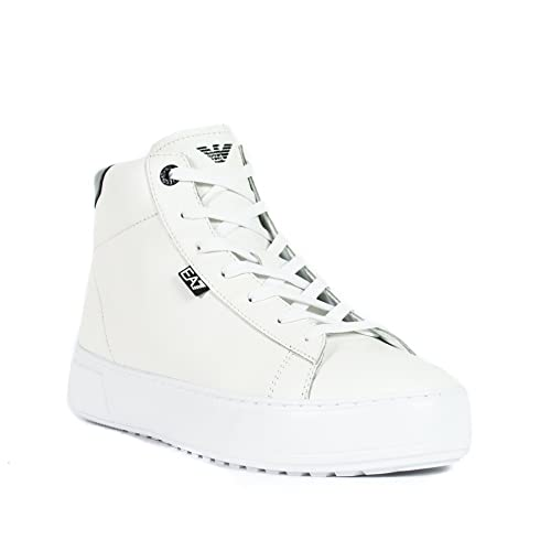 Emporio Armani EA7 Scarpe Sneakers Alte Uomo in Pelle Nuove Classic Fashion  bian  Amazon.it  Scarpe e borse d59d71d06f2