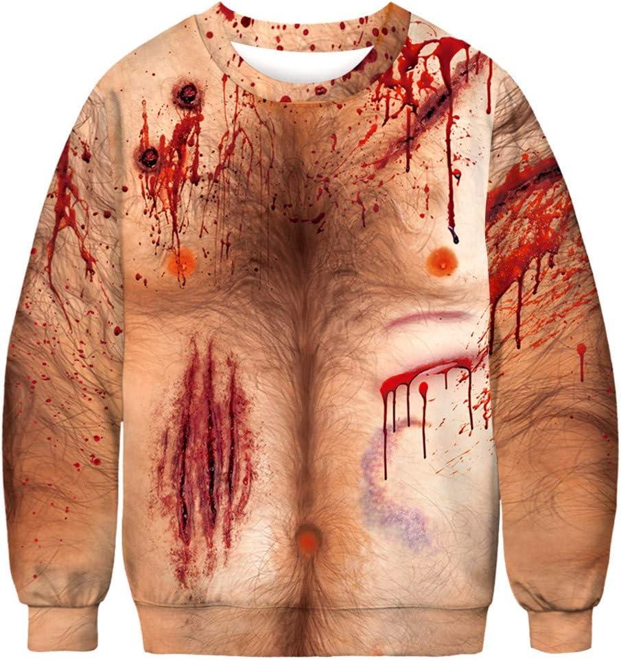 Infidev Happy Halloween Men's Fashion 3D Print Long Sleeve Casual Loose Tops Shirts Sweatshirts