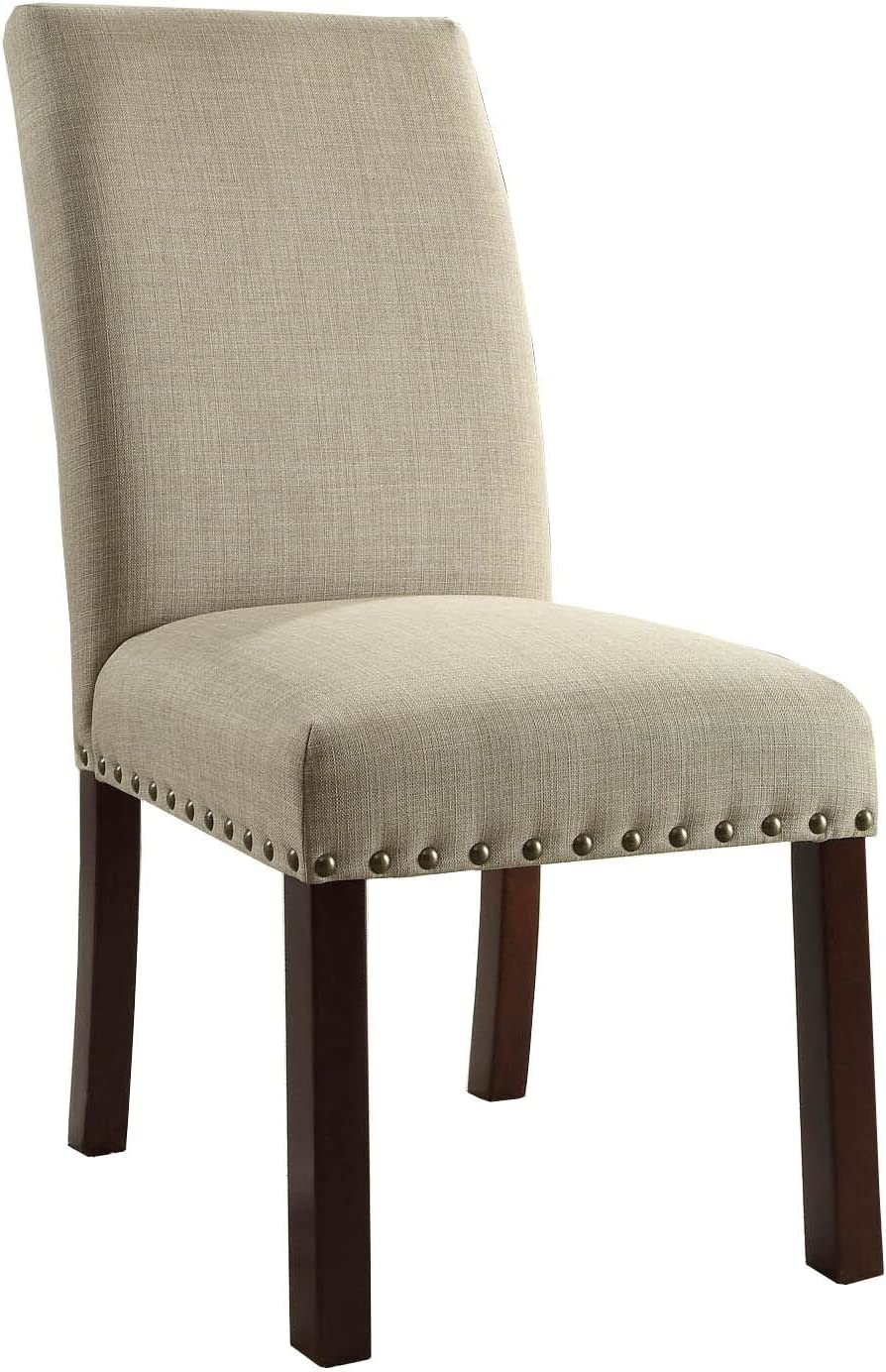 Homepop Parsons Classic Dining Chair With Nailhead Trim Set Of 2 Natural Linen Chairs