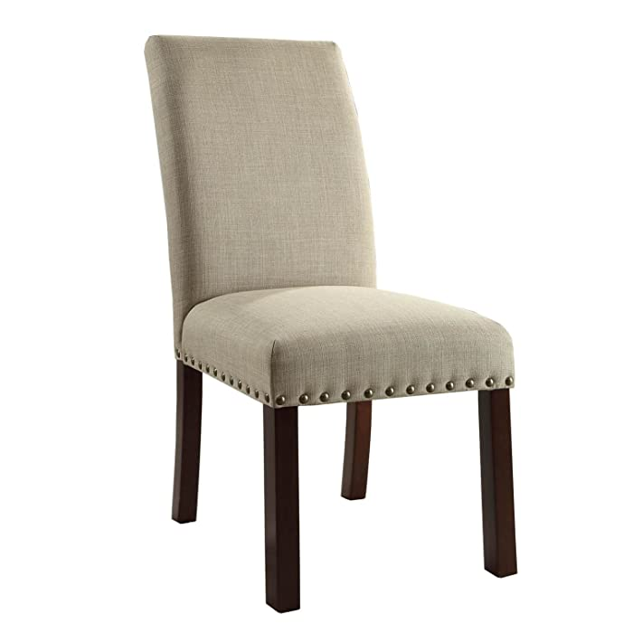 HomePop Parsons Classic Dining Chair with Nailhead Trim, Set of 2, Natural Linen