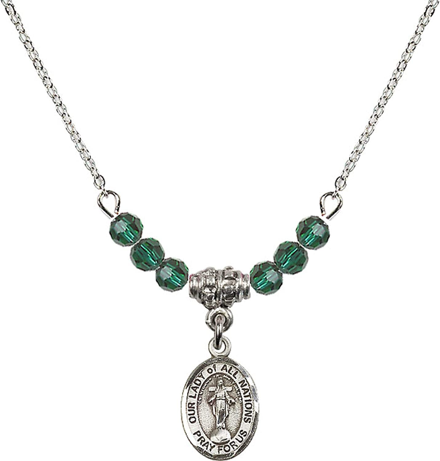 Bonyak Jewelry 18 Inch Rhodium Plated Necklace w// 4mm Green May Birth Month Stone Beads and Our Lady of All Nations Charm