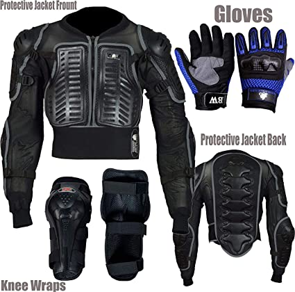 TECH-A1WORLD Conjunto de protecci/ón reflectante para ni/ños con protector de espalda ideal para actividades deportivas con rodilleras y guantes para motocicleta