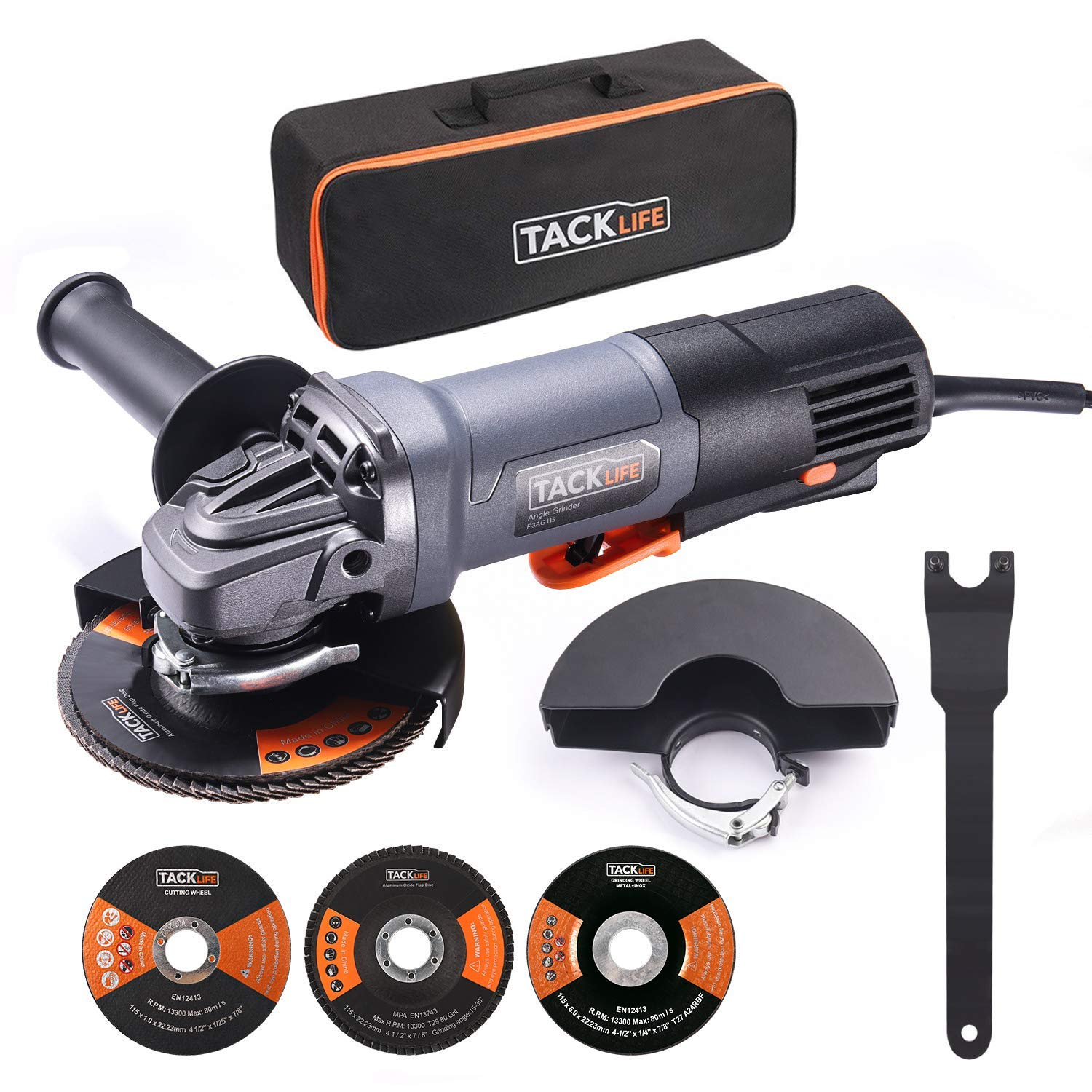 Angle Grinder,4-1 2-Inch,11-Amp 1300W 12000RPM HPP Tool W Paddle Switch 1 Grinding Wheel,1 Cutting Wheel,1 Flap Disc,2 Wheel Guards,1 Carrying Bag,Tacklife P3AG115