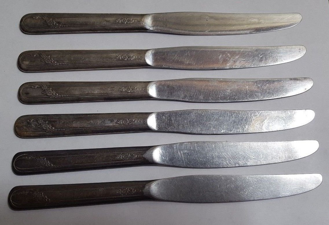 6 ONEIDA Tudor Plate Silverplate Dinner Knives w Stainless Blades