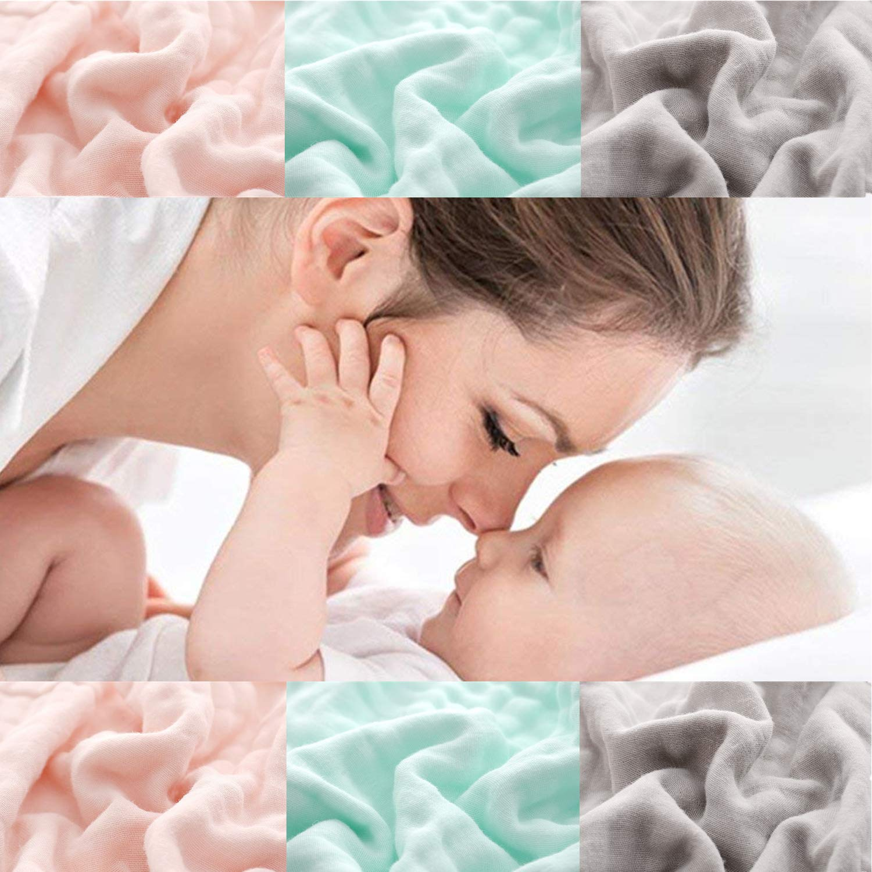 30cmX30cm Satz von 6 Perfektes Babyparty-Geschenk Baby Muslin Waschlappen Baby Gesicht T/ücher Pack wiederverwendbare Baby Wipes f/ür S/äuglings