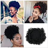 afro Puff con coulisse breve ricci capelli sintetici Puff Kinky extension per donne daywear (# 1)