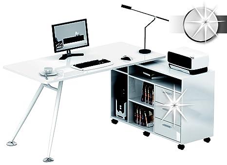Sixbros office scrivania porta pc bianco lucido ct am