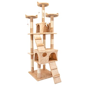 Ipotools Katzenbaum Für Grosse Katzen Stabil Kratzbaum Deckenhoch Katzenkratzbaum Groß Stabil Mit Plüsch Höhlen Sisal Säulen Liegemulden Und