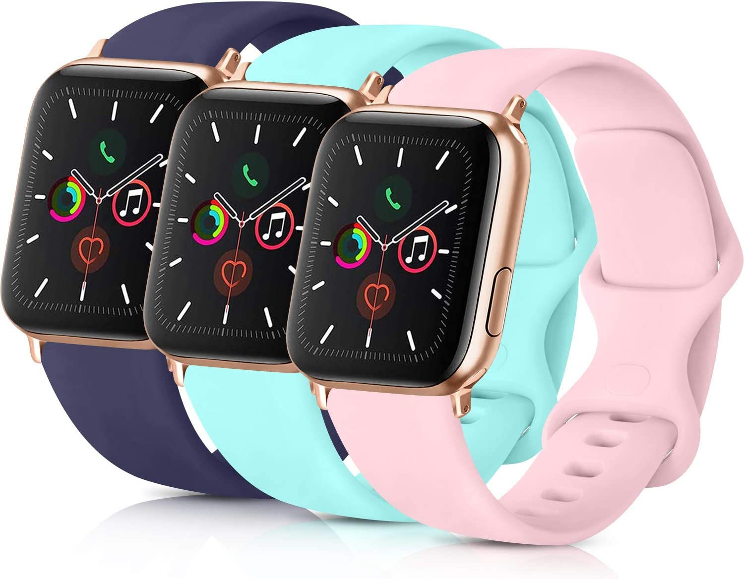 PACK 3 Compatible with Apple Watch Band 38mm 40mm 42mm 44mm Women Men, Soft Silicone Band Replacement for Apple iWatch Series 4, Series 3, Series 2, Series 1 (Navy Blue/Light Blue/Pink, 38mm/40mm-M/L)