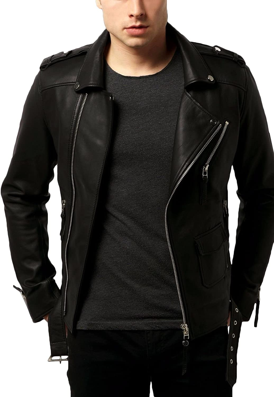 Kingdom Leather New Men Designer Genuine Lambskin Soft Biker Leather Jacket X1097