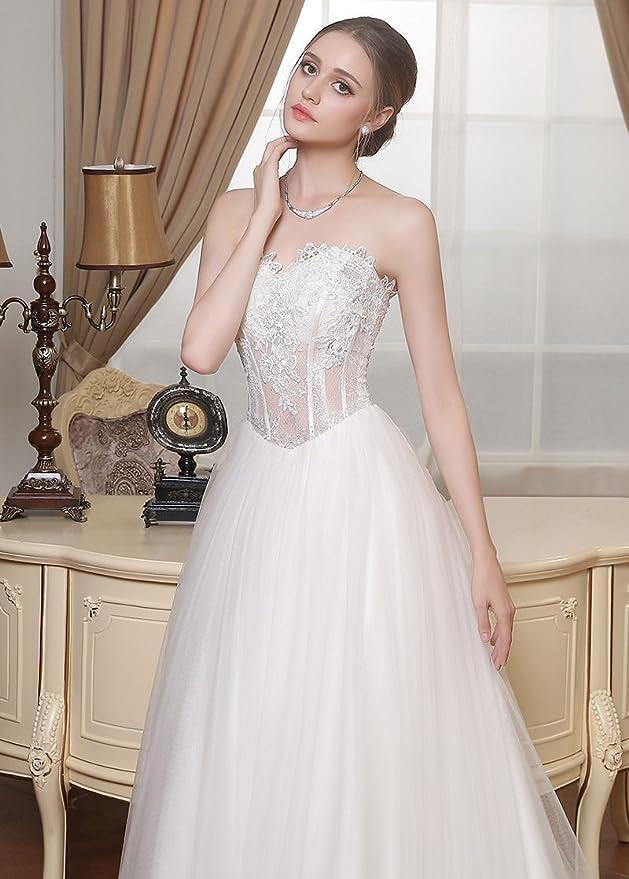 Adasbridal-Increible vestidos de novia de tul de escote corazon de A- linea: Amazon.es: Ropa y accesorios