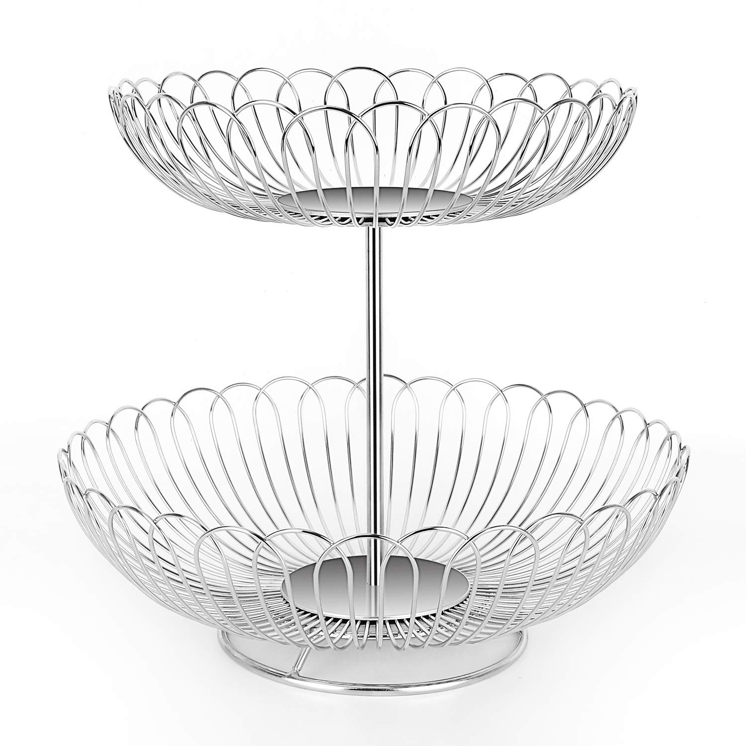 Stainless Steel 2 Tier Wire Fruit Basket Bowl for Kitchen Counter Stand with Bread
