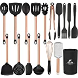 Mibote 17Pcs Kitchen Utensils Set with Holder, Silicone Cooking Kitchen Utensils Set with Stainless Steel Handle…
